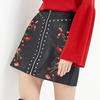 Black Embroidery Floral Zip Front Beaded Pu Mini Skirt