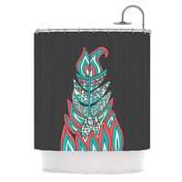 """Pom Graphic Design """"A Romantic Feather"""" Red Teal Shower Curtain"""