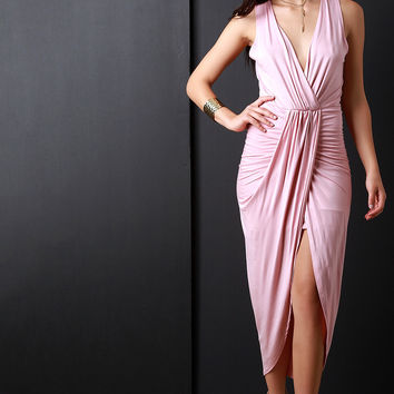 Surplice Wrap V-Neck Gathered Center Dress