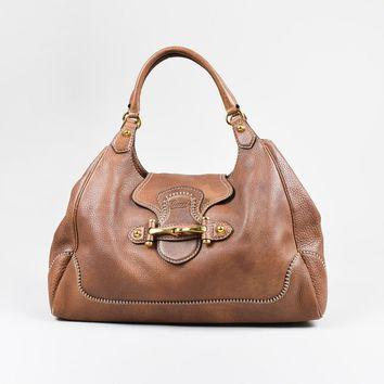 "Gucci Brown Grained Leather ""New Pelham"" Hobo Shoulder Bag"