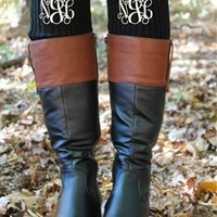 Monogram Leg Warmers - Black