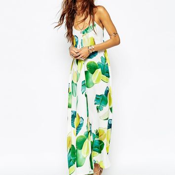 Kuccia Lemon & Lime Fruit Print Maxi Dress