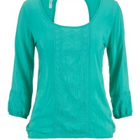 Embroidered Open Back Peasant Top - Sea Green