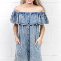 Mineral Washed Off Shoulder Denim Dress {L. Wash}