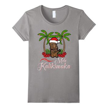 Tiki Mele Kalikimaka Merry Christmas T-Shirt Hawaii Ukulele