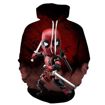 New Marvel Deadpool Sweatshirt Fashion Funny Men Women Long Sleeve Streetwear Hoodie DC Comics 3D Print Hoodies Men Hip Hop 2019