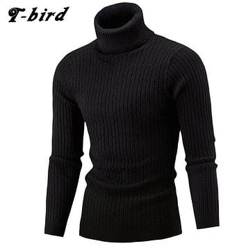 Men Hi-Neck Smart Fit Sweater / High Collar Solid Simple Slim Fit Knitted Sweaters