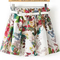 White Elastic Waist Floral Mini Skirt