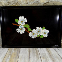 Vintage Couroc Serving Tray with Dogwood Blossoms