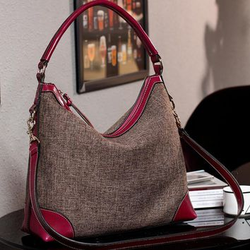 BARHEE Designer Real Genuine Leather Women Handbag Hobo Shoulder Bags Linen Fabric Messenger Bag Cowhide High Quality