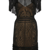 Fringe Sheer Knit Mini Dress | Moda Operandi