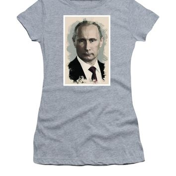 Watercolor Portrait Of President Of Russia, Vladimir Putin - Women's T-Shirt (Athletic Fit)