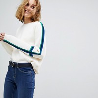 Vero Moda Knitted Jumper with Colour Blocked Sleeve at asos.com
