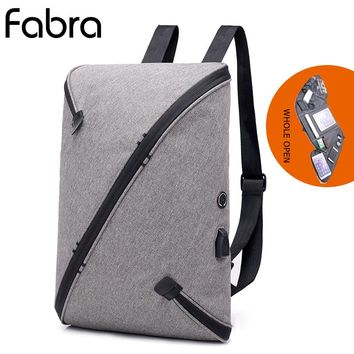 Fabra Men Laptop Backpack Travel Bag Business Backpacks Women Bagpack Casual Daypacks Whole Open Up Shoulder Bag USB Charge