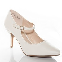 Bamboo Shoes Miss Direction Mid-Heel Pointed Toe Mary Jane Pumps - White