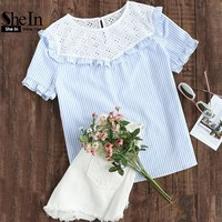 SheIn Women Summer Blouse 2017 Eyelet Embroidered Yoke Frill Trim Striped Top Short Sleeve Color Block Casual Blouse
