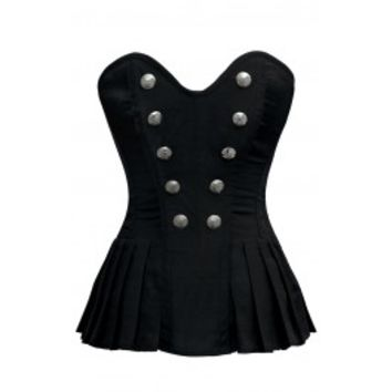 Pleated Black Corset Top with Button Detail - Corset Story