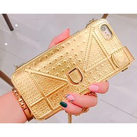 Bronzing oblique cross chain lanyard iPhone6 / 6Splus mobile phone shell all-inclusive anti-drop iphone 7 leather case female models D home