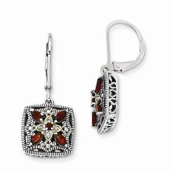 Antique Style Sterling Silver with 14k Yellow Gold Diamond & Garnet Earrings