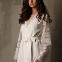 Short Silk Bridal Robe with Lace Sleeves  F6(Lingerie), Bridal Lingerie, Wedding Lingerie, Honeymoon, Sleepwear, Valentines Gift For Her