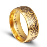 Titanium rings gold black Muslim Islamic ring mantra 8mm stainless steel ring