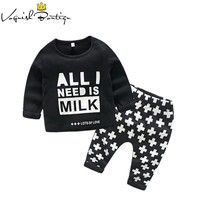 Newborn photo clothing set cotton t-shrit with patterns 2pcs/set i needs milk printed baby boys letter clothes