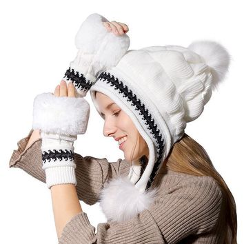 Women's Fur Lined Knitted PomPoms Beanie & Gloves