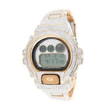 G-Shock For Men Icy Rose Gold Finish Lab Diamond Copper Tone Genuine Watch