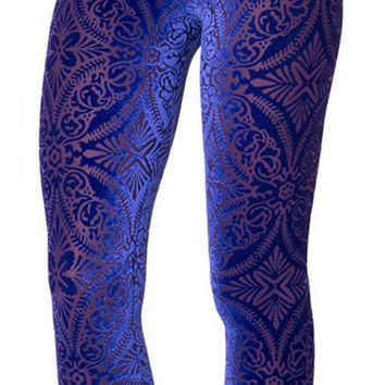 BadAssLeggings Women's Burned Velvet Leggings Medium Blue