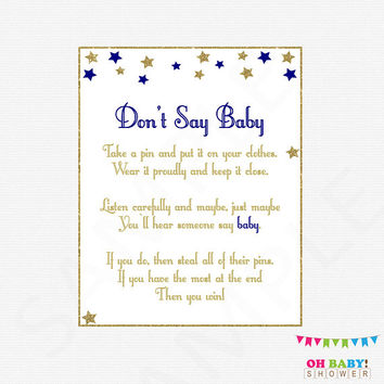 Don't Say Baby, Twinkle Twinkle Little Star Baby Shower, Printable baby shower, clothes pin game, navy gold, boy baby shower download, STPG