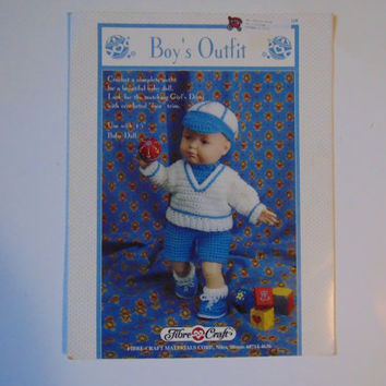 Boy's Outfit to Crochet by Fibre Craft 15 in Doll Clothes Leaflet FCM318