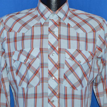 90s Lee Light Blue Rainbow Plaid Pearl Snap Shirt Medium