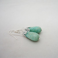 Amazonite Earrings, Drop Amazonite Earrings, Dangle Amazonite Earrings, Mint