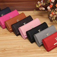 VONE05 LV Women Shopping Fashion Leather Buckle Wallet Purse