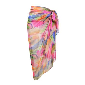 CHIC DIARY Women's Chiffon Print Floral Scarf Beach Sarong Pareo Bikini Wrap Cover Up (Pink)