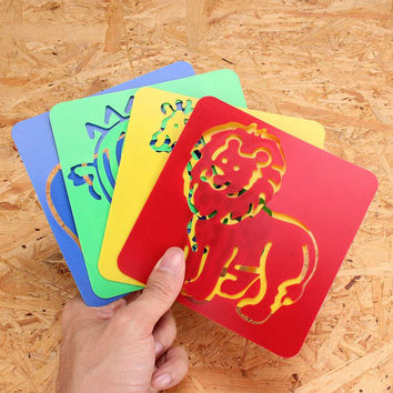 12Pcs Drawing Template Animal Shape Zoo Oppssed Painting Children Favor Stencil Draft Toy Kids DIY Paint