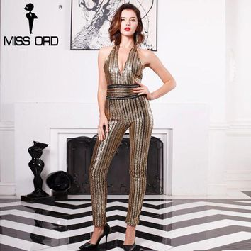 DKLW8 Missord 2017 Sexy Deep-V sleeveless strapless halter backless sequin jumpsuit FT4998