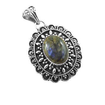 Designer Blue Fire Labradorite and Filigree Sterling Silver Pendant