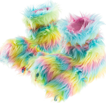 Girls Rainbow Plush Fuzzy Paw Slippers