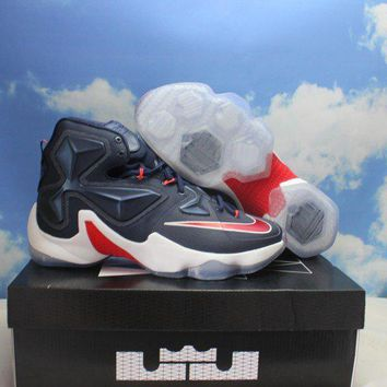 """Nike Lebron James XIII 13 """"USA PACK"""" Navy Blue Red White Basketball Shoes 807219-461"""