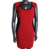 Trixxi Womens Plus Colorblock Cap Sleeves Casual Dress - 22 / RED