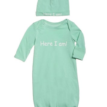 Eden | Here I Am Baby Receiving Gown and Hat in Mint Green