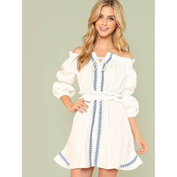 Lantern Sleeve Shirred Waist Embroidered Bardot Dress