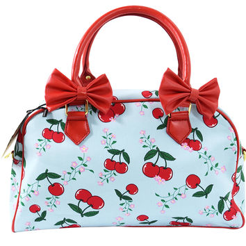 Pinup Lolita Cherries & Flower Red Bow Accent Blue Bowler Handbag