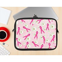 The Pink Ribbon Collage Breast Cancer Awareness Ink-Fuzed NeoPrene MacBook Laptop Sleeve