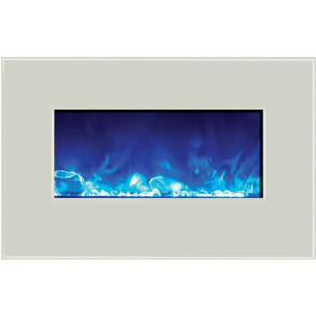 Amantii Built-in / Wall Mount Electric Fireplace (Fire & Ice, WM‐BI‐26‐3623‐WHTGLS)
