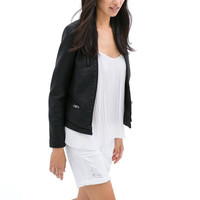 Black Artificial Leather Jacket with Multi-Zipper