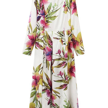 Multicolor Floral Printed Long Sleeve Maxi Dress