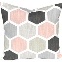 Geometric Pillow Covers - Decorative Pillow Covers - Blush Pink Home Decor - Black Pillow Covers - Throw Pillow Covers - Sofa Pillow Covers