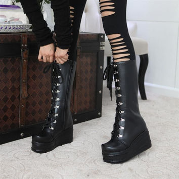 Women Motorcycle Boots Platform Wedges Lace Up Tall Boots High Heels Shoes Woman 2016 3517